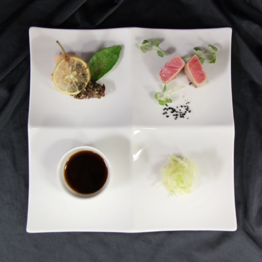 Semi-Cooked Saku Tuna With Soy Dressing, Kaffir Lime & Caper Confit served in Seishin